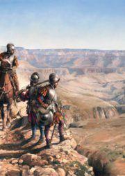 Lámina Españoles en el Colorado, de Augusto Ferrer-Dalmau
