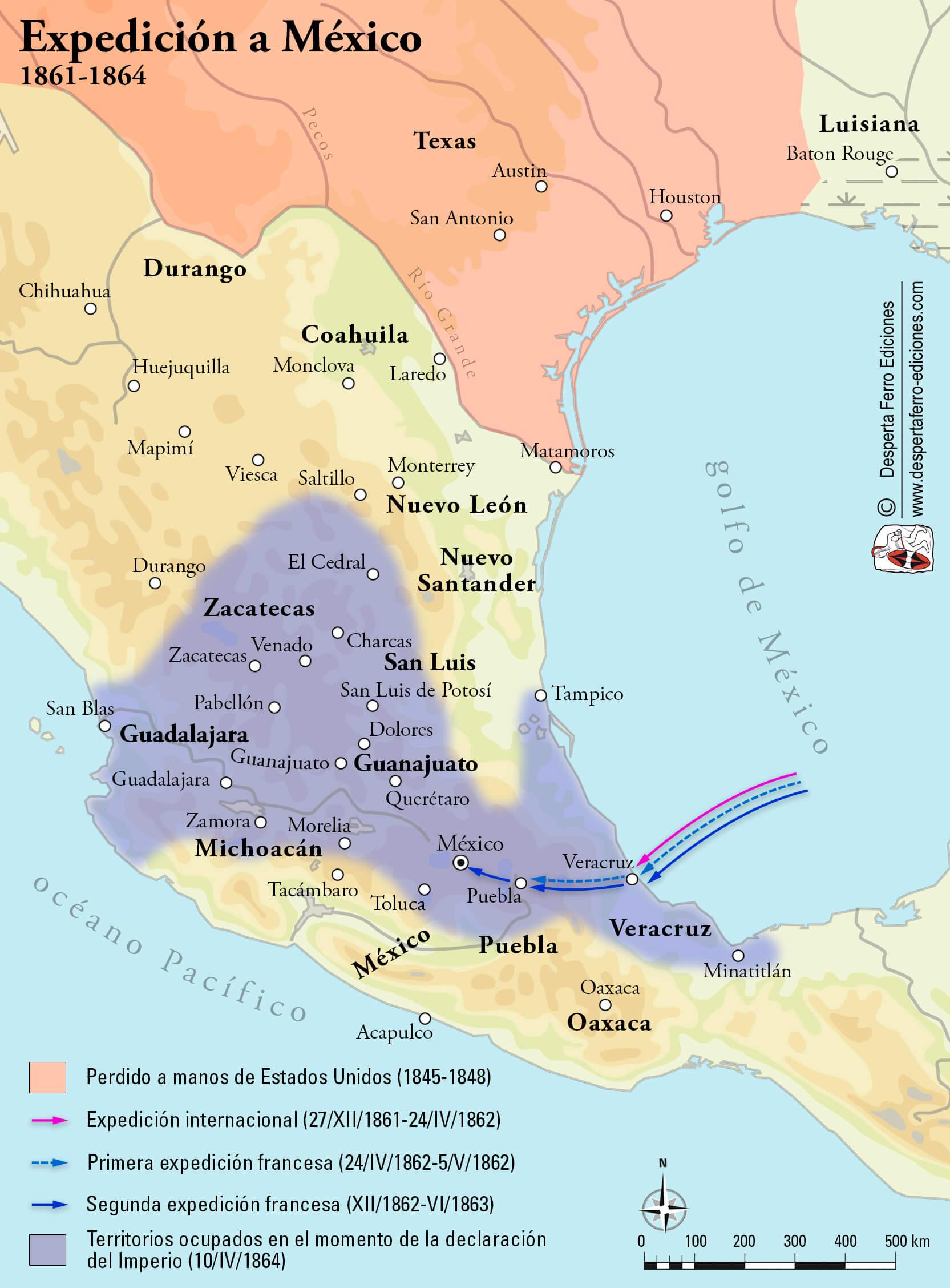 Mapa intervención francesa México Maximiliano I