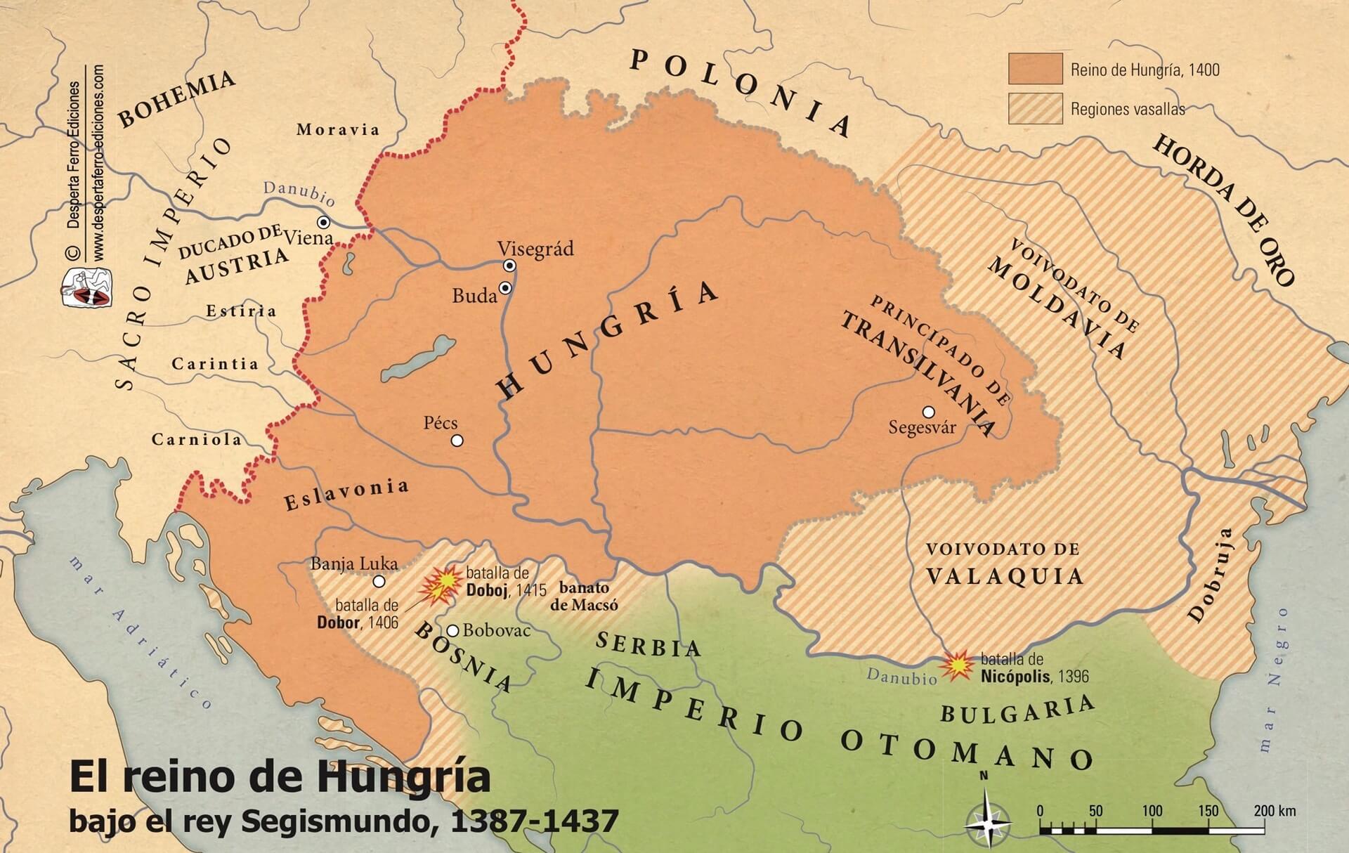 Mapa reino de Hungría orden del dragón